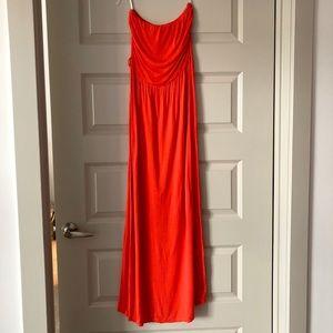 Simple Coral Maxi Dress
